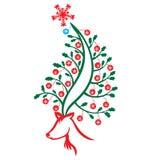 bożych narodzeń renifera drzewo royalty ilustracja