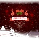 Bożych Narodzeń wciąż życie z białych bożych narodzeń drzewami, dzwonami, dwa rogaczami z tekstem i setem płatek śniegu, royalty ilustracja