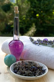 bo разветвляет полотенце масла лаванды lavander Стоковые Фотографии RF