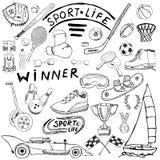 体育生活剪影乱画元素 与棒球棒,手套,保龄球,曲棍球网球项目,赛车,杯子奖牌, bo的手拉的集合 库存照片