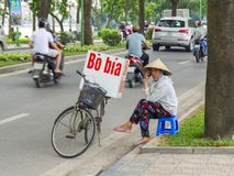Bo bia Seller in the Streets of Hanoi. Royalty Free Stock Images