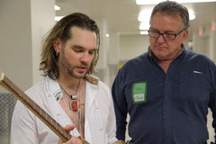 Bo Bice. April 08, 2011, Sacramento, CA - Bo Bice talks about his custom made guitar by Duane Calkins of Woodshop Rocks at Thunder Valley Casino in Rocklin, CA Stock Photography