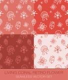 Bo den Coral Retro Flower Seamless Pattern vektoruppsättningen royaltyfria foton
