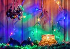 Boże Narodzenia candle i dekoracje Zdjęcia Royalty Free