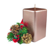 Boże Narodzenia candle z dekoracjami Obrazy Royalty Free