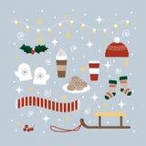 Boże Narodzenia i inkasowe Zima ikony Zdjęcia Stock