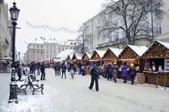 Boże Narodzenia i nowego roku bazar w Lvov Fotografia Stock