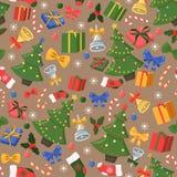 Boże Narodzenia i nowego roku bezszwowy wzór z wakacyjnymi dekoracjami royalty ilustracja