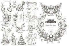 Boże Narodzenia i nowego roku projekta dekoracyjni elementy Zdjęcia Stock
