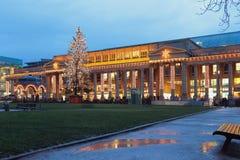 Boże Narodzenia i nowego roku ` s europejczyka miasto Stuttgart, Baden-Wurttemberg, Niemcy Zdjęcie Stock