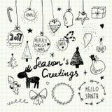Boże Narodzenia i nowy rok doodles inkasowi Obrazy Stock