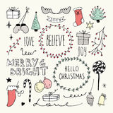 Boże Narodzenia i nowy rok doodles inkasowi Zdjęcia Royalty Free