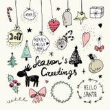 Boże Narodzenia i nowy rok doodles inkasowi Fotografia Royalty Free