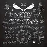 Boże Narodzenia i nowy rok doodles inkasowi Zdjęcia Stock