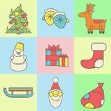 Boże Narodzenia i nowy rok ikony na barwionym tle Obrazy Royalty Free