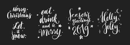 Boże Narodzenia i nowy rok kaligrafii wektoru zwroty 12 Ilustracja Wektor