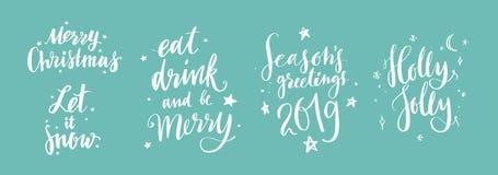 Boże Narodzenia i nowy rok kaligrafii wektoru zwroty 11 Royalty Ilustracja