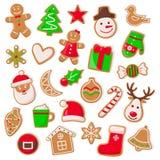 Boże Narodzenia i Xmas projekt ciastko Ustalony wektor ilustracji
