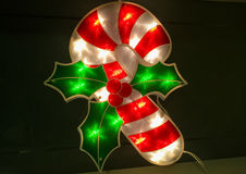 Boże Narodzenia Iluminowali cukierek trzciny Obrazy Stock