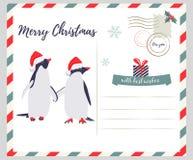 Boże Narodzenia, nowego roku kartka z pozdrowieniami z pingwinami Obraz Stock