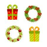 Boże Narodzenia, nowy rok prezenty i wianki, wektorowy mieszkanie Obrazy Royalty Free