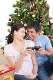 boże narodzenia target1624_0_ homa kochanków czas wino Zdjęcie Stock