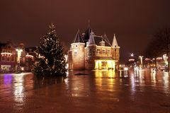 Boże Narodzenia w Amsterdam przy Nieuwmarkt w holandiach n Zdjęcie Stock