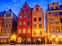 Boże Narodzenia w Sztokholm Starzy kolorowi domy na kwadratowym Storto Obrazy Royalty Free