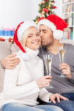 Boże Narodzenie buziak. Obrazy Royalty Free