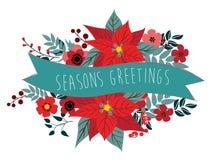 Boże Narodzenie poinsecja i ornamenty Fotografia Stock