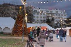 Boże Narodzenie rynek na Morawskim kwadracie w Brno Zdjęcie Royalty Free