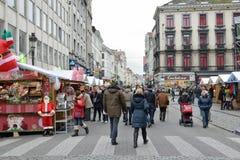 Boże Narodzenie rynek w centrum Bruksela Obraz Royalty Free
