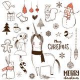 Bożego Narodzenia doodle set Fotografia Royalty Free