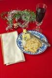 bożego narodzenia serowy wino Zdjęcie Royalty Free