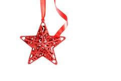 Bożenarodzeniowa czerwieni gwiazda z faborkiem Fotografia Stock