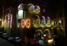 Bożenarodzeniowa iluminacja na ulicie w Rzym Zdjęcie Royalty Free