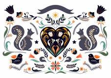 Bożenarodzeniowa kartka z pozdrowieniami z scandinavian tradycyjnymi elementami zdjęcie royalty free