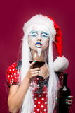 Bożenarodzeniowa kobieta z winem Obraz Stock