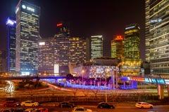 Bożenarodzeniowa noc przy Shanghai Pudong Nowym terenem Obrazy Royalty Free