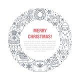 Bożenarodzeniowa nowego roku sztandaru ilustracja Wektor kreskowa ikona zima wakacje choinka, prezent, Santa Claus, list Zdjęcia Stock