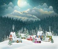 Bożenarodzeniowa zimy wioska, góry i ilustracja wektor