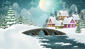 Bożenarodzeniowa zimy wioski scena ilustracja wektor