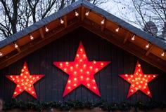 Bożenarodzeniowe dekoraci czerwieni gwiazdy Obrazy Stock