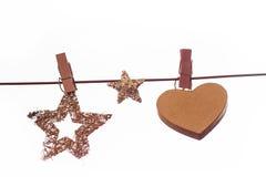 Bożenarodzeniowe dekoracje z drewnianymi czopami na linii Fotografia Stock