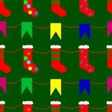 Bożenarodzeniowe skarpety i flaga doodle bezszwowego wzór Obrazy Stock
