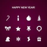 Bożenarodzeniowego nowego roku ikony wektorowy set Obrazy Stock