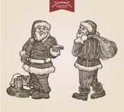 Bożenarodzeniowego Santa nowego roku rytownictwa stylu handdrawn szablon ilustracji