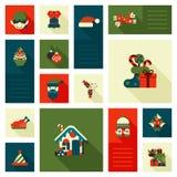 Bożenarodzeniowej nowy rok ikony mieszkania stylu ustaleni cukierki ilustracja wektor