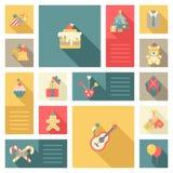 Bożenarodzeniowej nowy rok ikony mieszkania stylu ustaleni cukierki i dekoracje royalty ilustracja