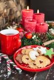 Bożenarodzeniowi ciastka i herbata Zdjęcia Royalty Free